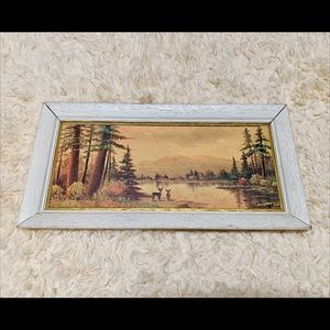 Vintage Deer Lake Forest & Mountains Painting